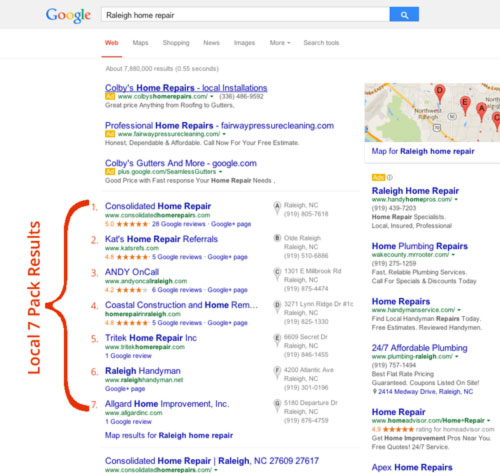 Google Local SEO - 7 pack map results